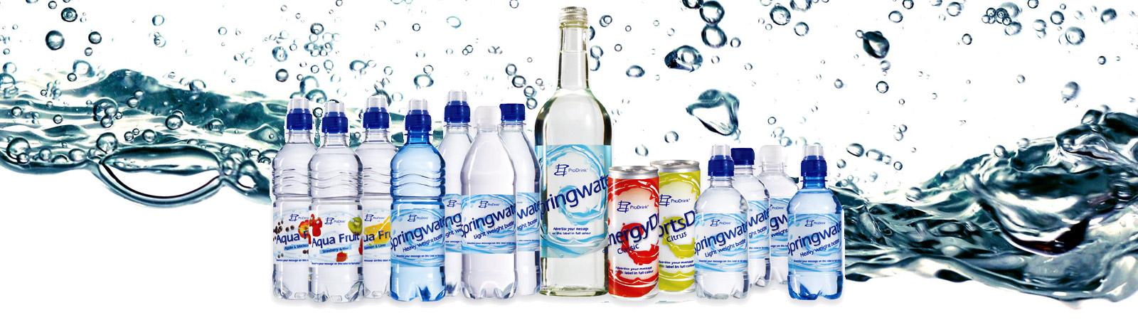 Energy drinks en Flesjes water met uw logo op maat geleverd door Prikkels BV uit Eindhoven