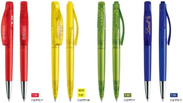 Prodir DS2 transparant bedrukte pennen van Prikkels BV uit Eindhoven