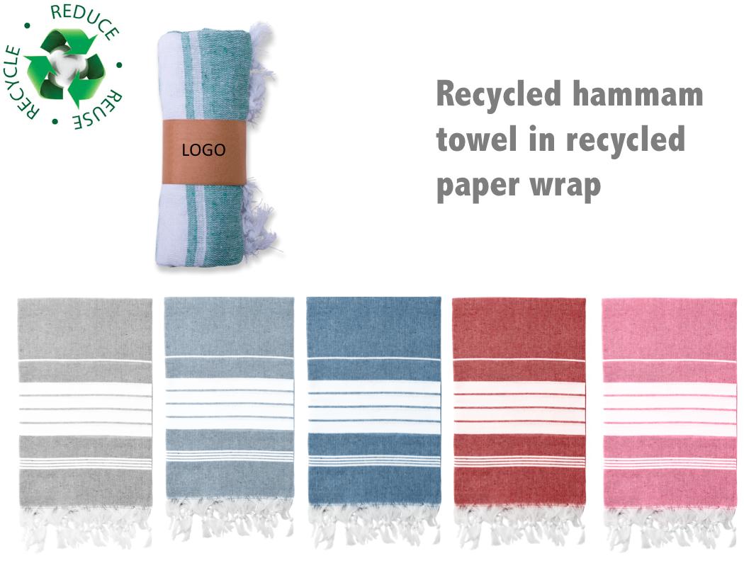 Hamamdoek recycled - relatiegeschenk met bedrukking of inweving